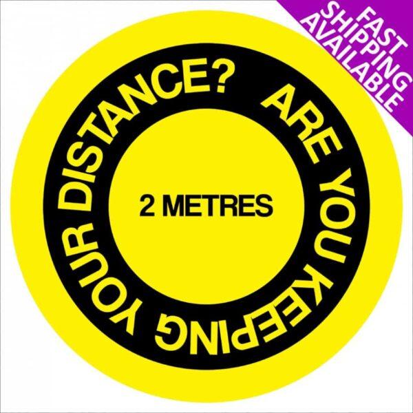 Social Distancing Self Adhesive Floor Sticker 2m reminder yellow