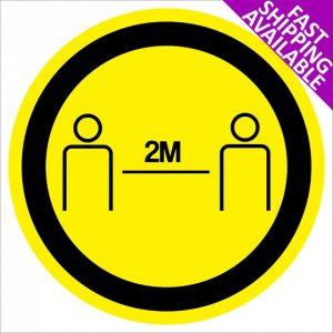 Social Distancing Self Adhesive Floor Sticker 2m yellow