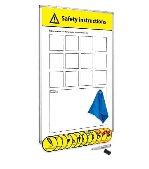 Social Distancing Workplace Solutions magnetic safety instructions board