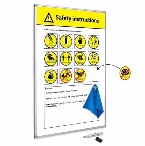 Social Distancing Workplace Solutions safety instructions board
